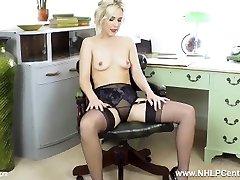 Office honey Aston Wilde strips off retro lingerie masturbates off in nylons heels