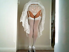 White lace Slip And Panties with White Pantyhose