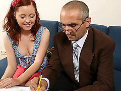 TrickyOldTeacher - History lessons make college girl swallow cum and fuck her older lecturer
