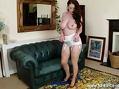 Phat tits babe peels off white retro lingerie wanks in nylons