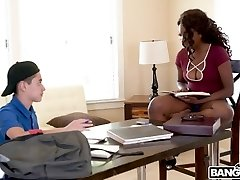 Warm Ebony Daya Knight Plumbs With Teenager
