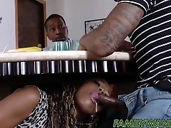 Steamy ebony babes drilled with monster schlongs