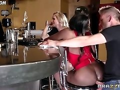 Diamond Jackson Casually Converses with Simone Sonay while the Bartender Plumbs