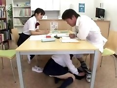 Hardcore... penetrate girl japanese library under the table