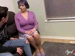 AgedLovE Busty British Mature Fucks Teenage Fellow