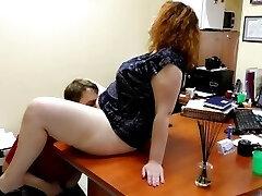 Cute Plumper Fuck & Pee in Public Office