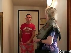 Busty old granny picked up by young boy