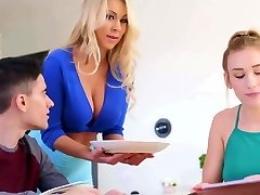 Mommy blows daughters bf while studying