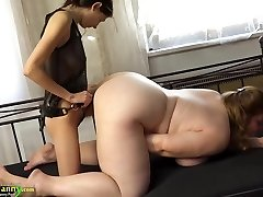OldNanny Chubby huge-titted granny masturbate with strap dildo and tee