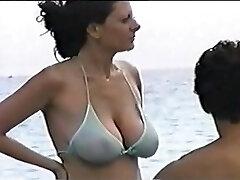 hot xxl tit mom at the beach