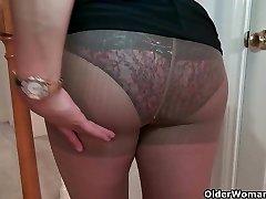 Busty cougar Mia Jones strips off and fucks a fuck stick
