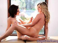 Busty masseuse tribbing lesbian after oral