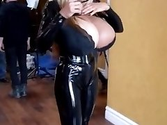 Amazing towheaded bitch with big boobs and cock-squeezing latex outfit
