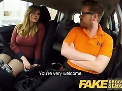 Faux Driving School 34F Globes Bouncing in driving lesson