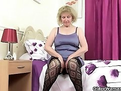 Brit grandma Diana going solo in fishnets