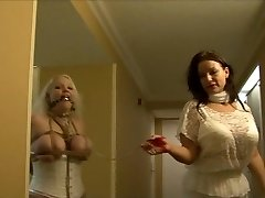 Full figured woman hogtied in white lingerie
