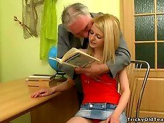 Pretty blonde teen in knee socks gets her tight cooch licked by an old man