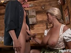 Huge-boobed German frau with pierced pussy Maria Montana fucks one dude in the bar