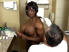 Extremely muscular black getting ready