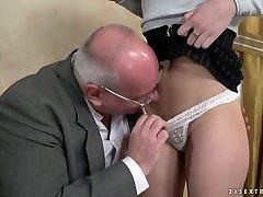 Buxom slutty Turkish hotty Anya Krey lures older man to ride his beefstick
