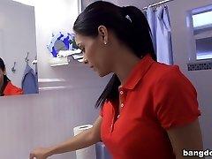 Big tit Latina maid gets humped