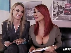 Ava Devine and Natasha Starr in office 3some