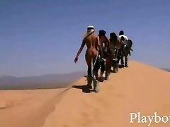 Big rack babes tries out sand boarding