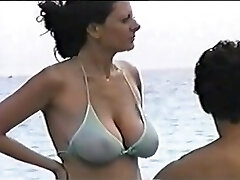 hot big tit mother at the beach