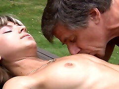 Young and skinny Gina Gerson fucks the old and yam-sized boned gardener!