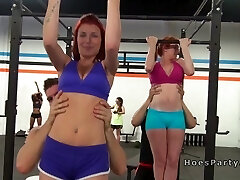 Orgy screwing party in the gym