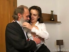 Tricky Old Teacher - Old tutor with her luxurious natural boobs Milanas