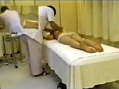 Titless Jap slut fingered hard in hidden cam rubdown clip