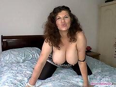 Warm big boobs mature woman shaking tits and teasing
