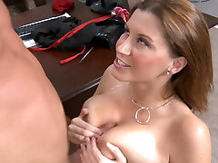 Buxomy slut in stockings rides on cock and gives blowjob
