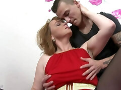 Mom with saggy breasts gets taboo sex with son
