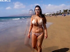 Ardent real bathing suit gal Zara C exposes her big saggy mammories on the beach