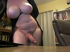Busty trans with immense hard cock on cam