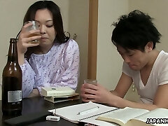 Drowsy but horny Japanese wife wanna get her shaggy pussy banged