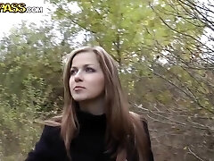 Wonderful teen super-bitch Abi sucks cock for currency in the forest