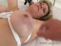 British mature Chick Sonia gagged and bound to the bed