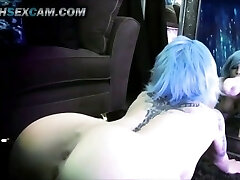 Mirror Dildo Fuck Double Foray Blue Hair Tattoo Punk Cam Slut Punk HD