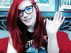 Redhead Emo Teen Pokes Weird Octopus Dildo