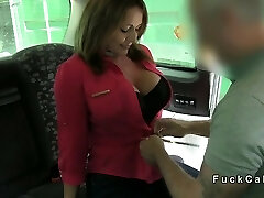 Chubby busty amateur anal plumbed in fake taxi in public