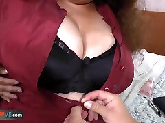 Chubby brunette with xxl tits is getting banged by horny man on bed