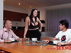 Kinky guy loves to screw his step- mommy and does it even in front of another man
