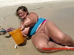 Thick saggy tits on the beach