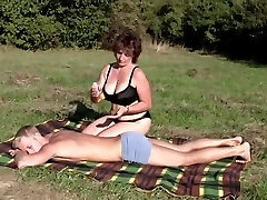 Brunette BBW-Milf Outdoors by Young Boy