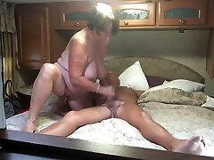 Grandma gives a great blowjob and hand job