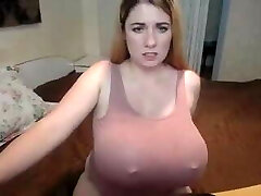 Chunky amateur babe with gigantic boobs