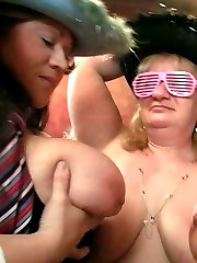 The fat party girls in their fun hats and glasses get naked and fool around for the guys